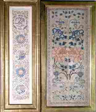 Two Chinese sleeves, Qing Dynasty, each of embroide