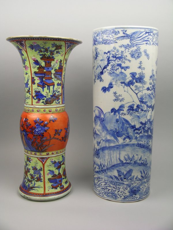 3B: A Chinese blue and white beaker vase, possibly Kang