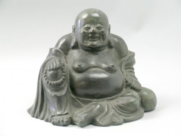 4B: A Chinese bronze figure of Hotei, the corpulent sea