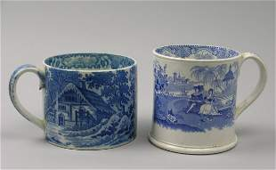 A Staffordshire pottery mug, 19th century, printed