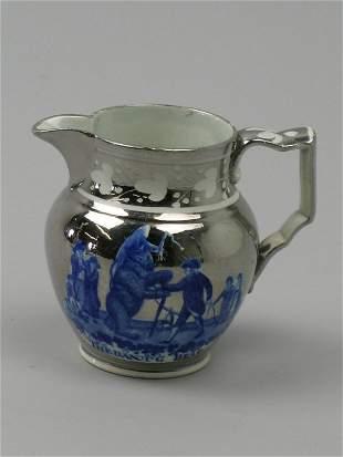An unusual silver lustre resist jug, Swansea or St