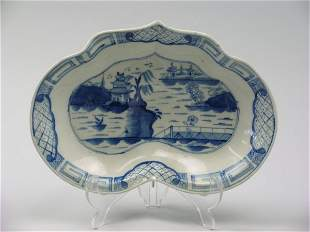A Caughley blue and white porcelain kidney shaped