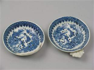 Two Caughley blue and white porcelain strainers ci