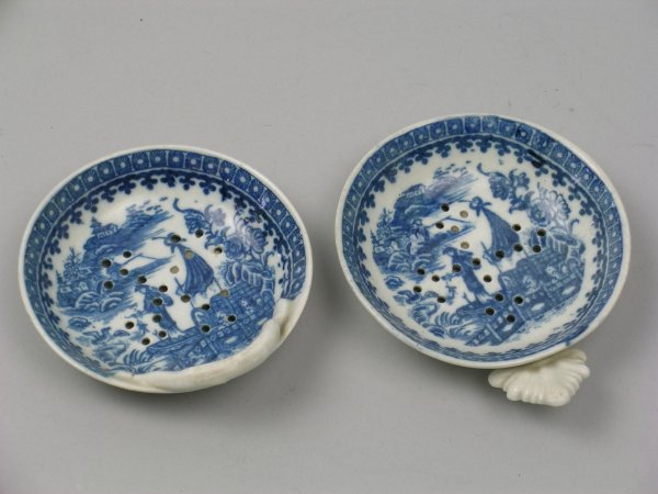 21B: Two Caughley blue and white porcelain strainers ci