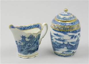 A Caughley blue and white porcelain tea caddy and