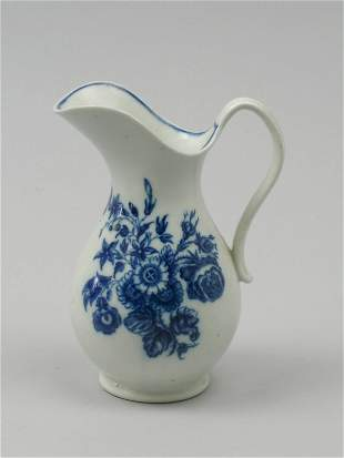 A Caughley blue and white porcelain milk jug of ba
