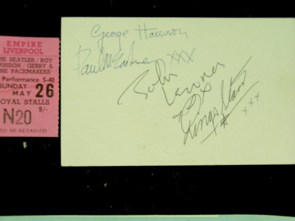 295C: A complete set of Beatles autographs on the rever