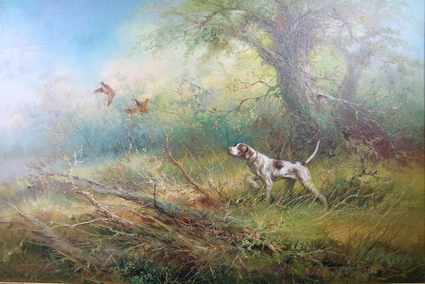 2D: A Breasley  'A pointer flushing partridges',  oil o