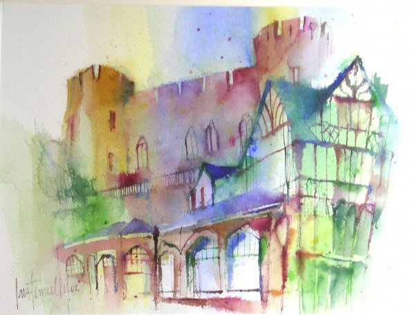 14D: Ian Fennelley 'A view of Shrewsbury Castle', ink a
