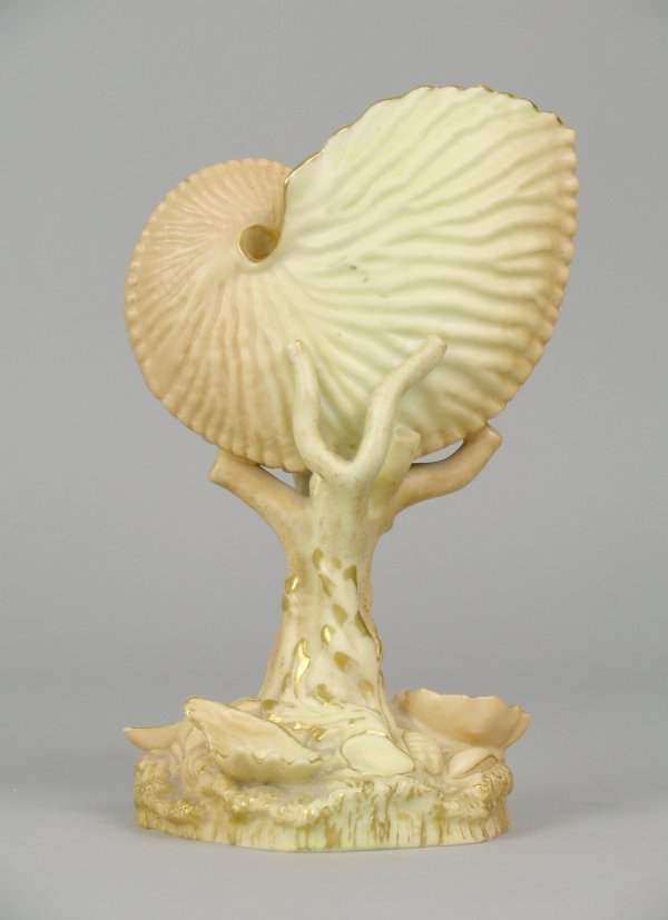 68E: A Royal Worcester nautilus shell vase, shape numbe