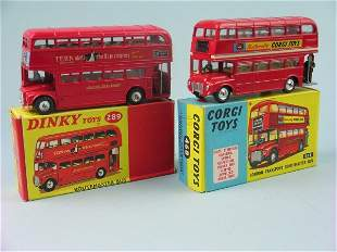Two boxed London Routemaster buses, the first a Din