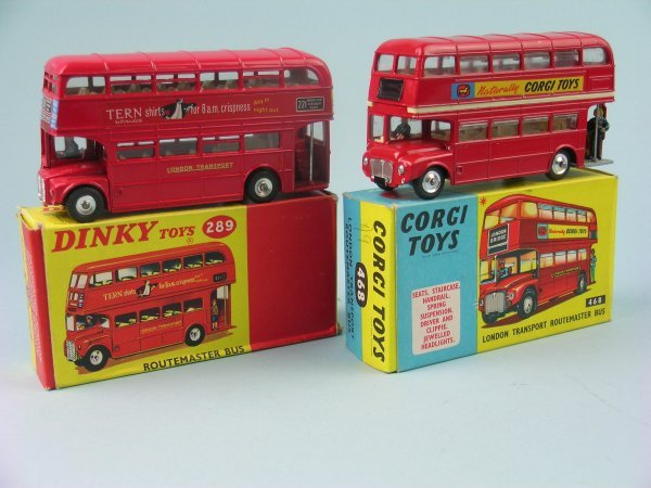4B: Two boxed London Routemaster buses, the first a Din