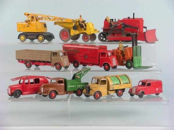 9B: A group of ten post war play worn Dinky Toys, to in
