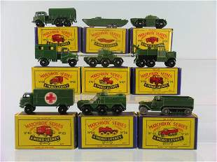 A group of nine Moko Lesney army vehicles, a No. 4