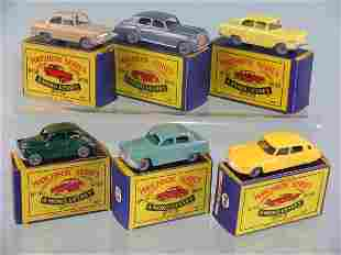 A group of six boxed Moko Lesney saloon cars, mode