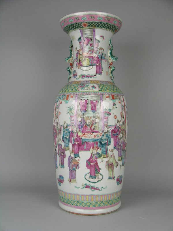 1D: A Cantonese enamel porcelain vase, late 19th/early