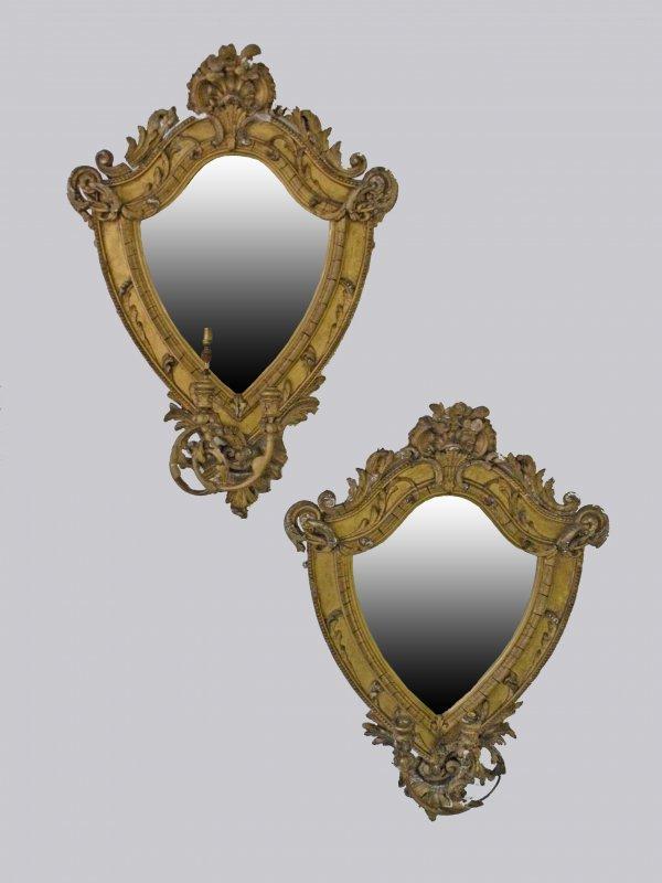 24D: A pair of shield shaped gesso Rococo style girando