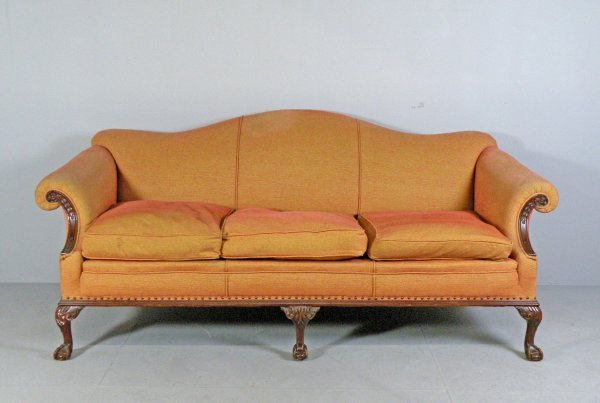 115D: A Chippendale Revival three seater sofa, the arch