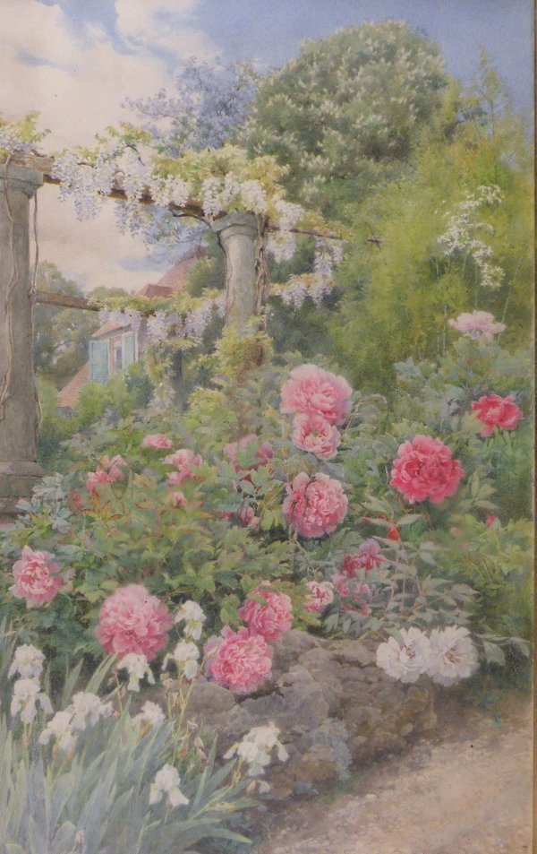 33B: Alfred Parsons, 'A garden in bloom', watercolour,