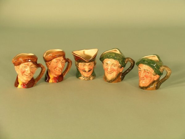23C: Five Royal Doulton tiny character jugs to include;