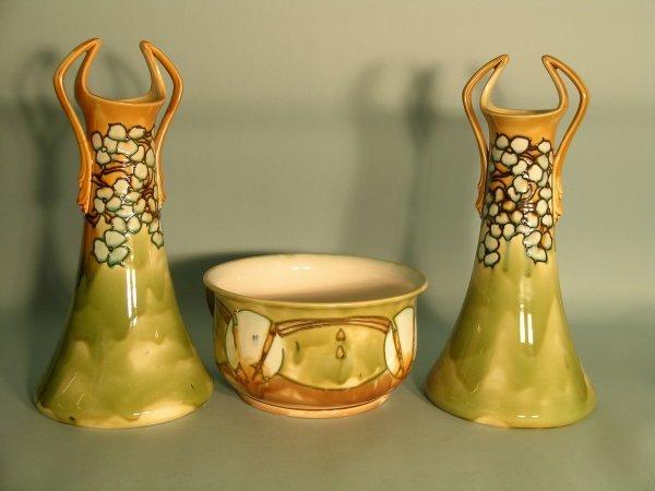 99C: A pair of Mintons Secessionist vases circa 1900, e