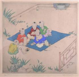 398C: Elyse Ashe Lord, 'Chinese children', hand coloure