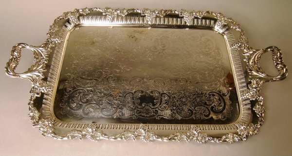 1B: A late Victorian two handled plated tea tray