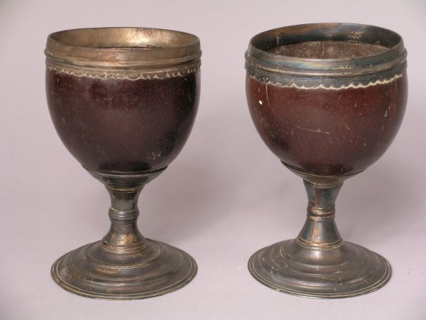 7B: A pair of coconut cups with plated mounts
