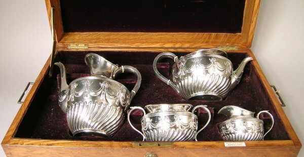 20B: A cased silver coffee and tea service, London 1890