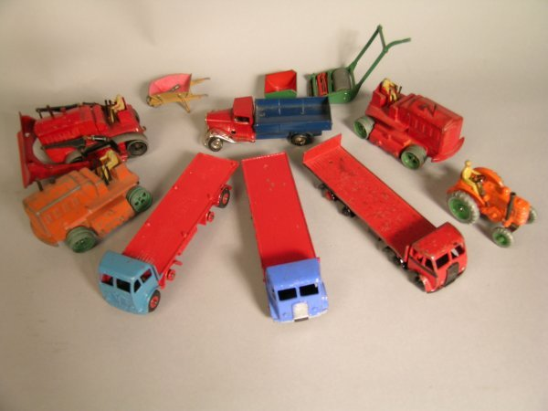 4D: Three repainted Dinky Foden flat trucks, two first