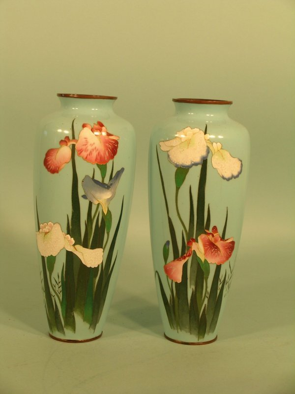 1: A pair of Japanese tapering ovoid vases, early 20th