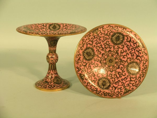 4: A pair of cloisonné comports, late 19th/early 20th c