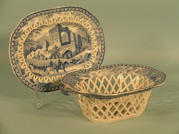 12: A pearlware chestnut basket and stand 19th century,