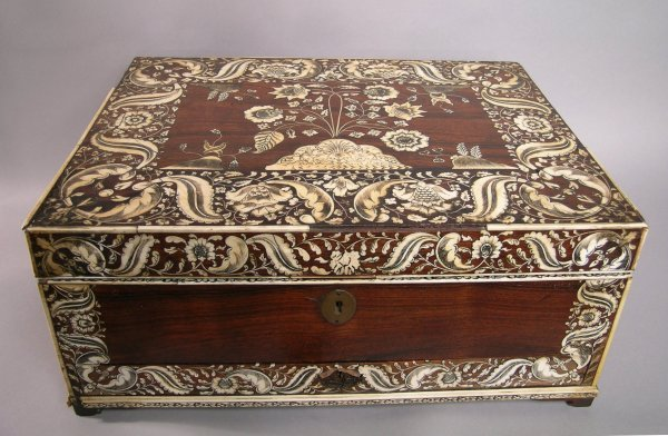 131: An early Victorian rosewood bone inlaid Anglo Indi