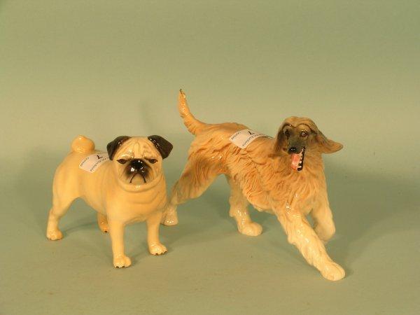 7B: A Beswick Pug 'Cutmil Cutie' and Afghan Hound