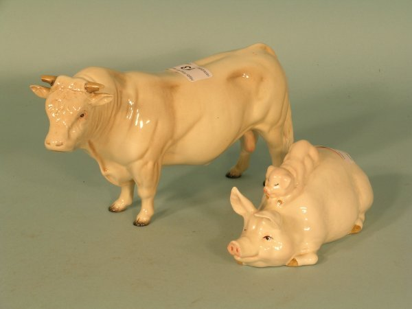 13B: A Beswick Charolais bull with pig and piglet