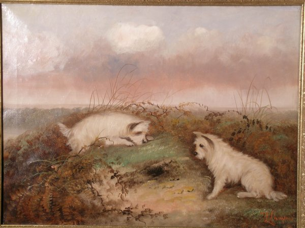 312B: J Langois, 'Terriers at a rabbit hole', oil on ca