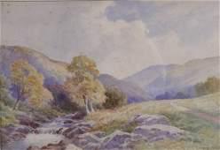 380B John Bates Noel Figures on a country lane wat