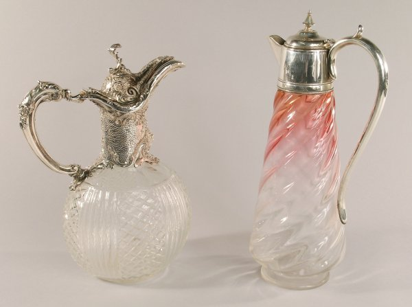 9C: A hobnail cut and reeded clear glass ewer