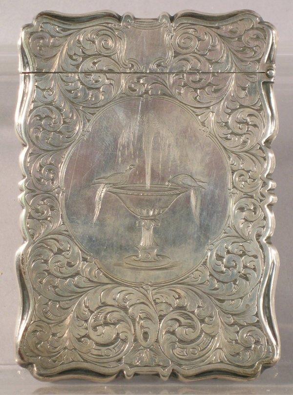 17C: A Victorian silver bright cut calling card case