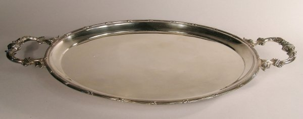 20C: A silver two handled tea tray, probably 'H Matthew