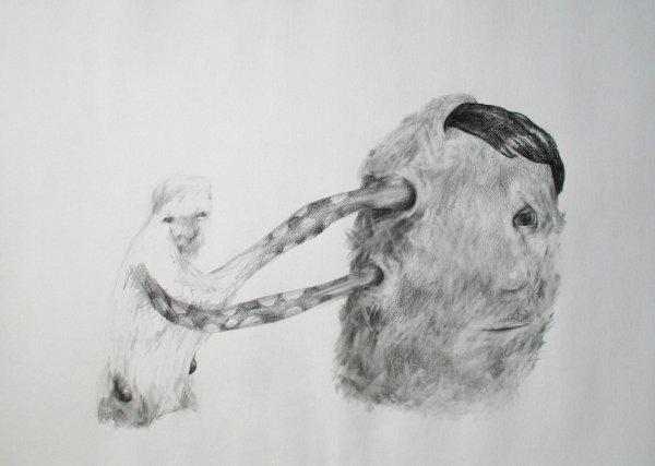 5D: Daniel Bell,  'Behaviour', pencil on paper, 55cm x