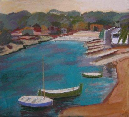 9D: Sue Campion 'Alcaufar, Menorca', pastel, 40.5cm x 4