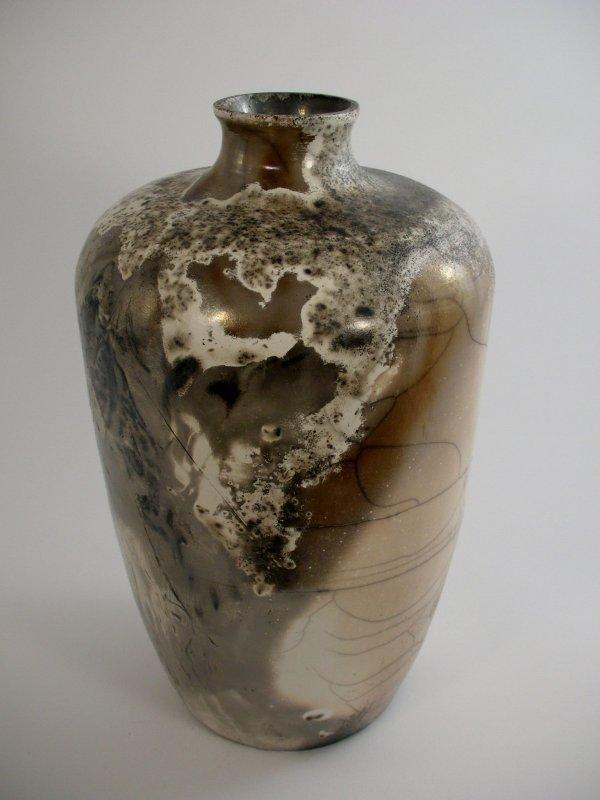 11D: Victoria Dark A Raku ovoid vase, porcelain, 33cm h