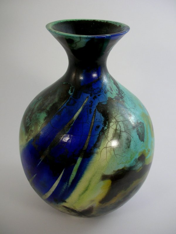14D: Victorian Dark A Raku globular vase, porcelain, 36