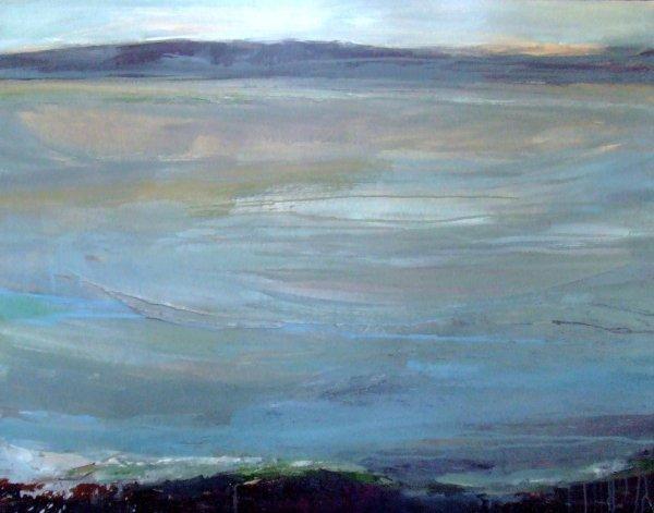 21D: Beth Fletcher 'High Tide Dyfi Estuary', oil on can