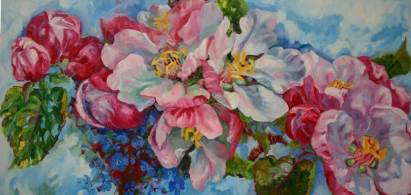 22D: Beverley Fry 'Apple Blossom', oil on canvas, 178cm
