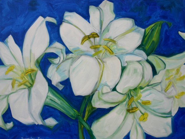 23D: Beverley Fry 'White Lilies', oil on canvas, 92cm X