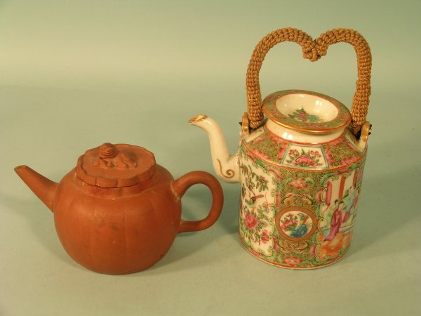 8E: A Chinese Yixing red earthenware lobed teapot and c