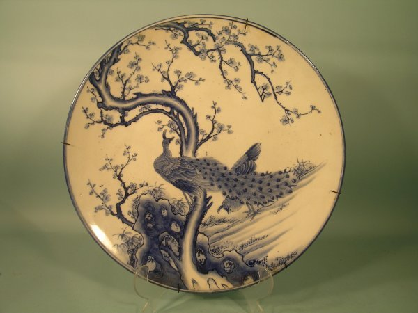 10E: Two large Japanese Arita blue and white wall plate